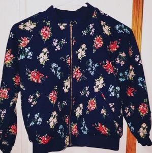 Blue floral sweater with zipper/ Size-M-L